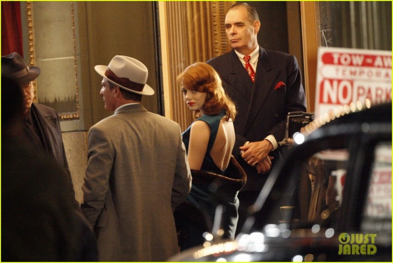 "Emma Stone and Sean Penn on the set of ""Gangster Squad"" in Downtown LA"